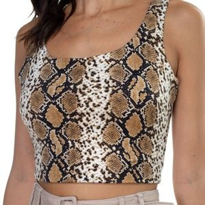🌸Sleeveless Animal Print Cropped Top